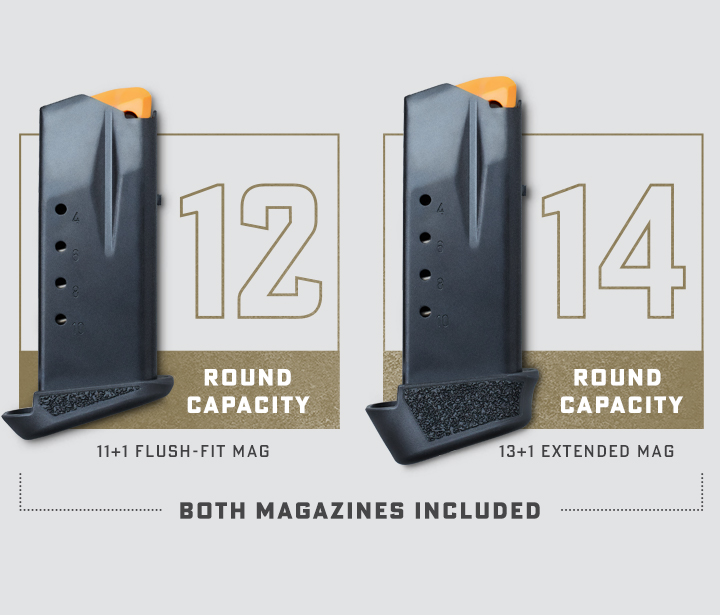 Kimber 12 and 14 Round capacity magazines. Both included.